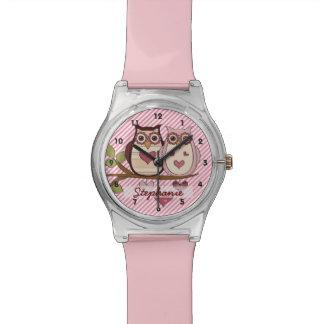 Montre rose personnalisée de hibou montres