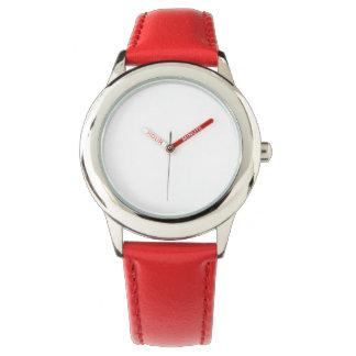 Montre rouge de bracelet en cuir de l'acier montres cadran
