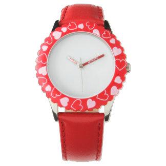 Montre rouge de coeurs d'acier inoxydable, montres bracelet
