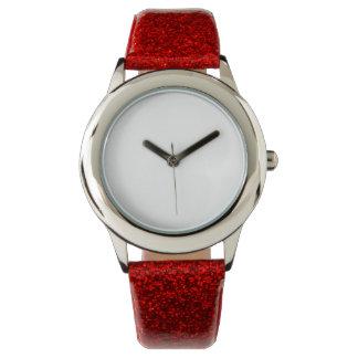 Montre rouge de courroie du scintillement de montres bracelet