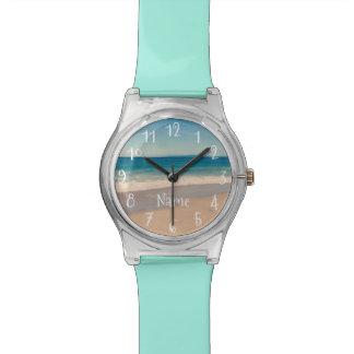 Montre Scène personnalisée de plage d'Aqua