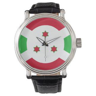 Montre Symbole de drapeau de pays du Burundi longtemps