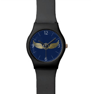 Montre Symbole de paix de regard en métal avec des ailes