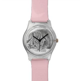 montre tigrée minuscule de chaton montres cadran