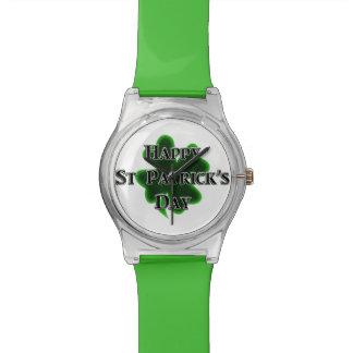 Montre Trèfle de feuille du jour quatre de St Patrick