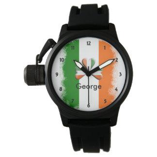 Montre Tri shamrock irlandais affligé de couleurs