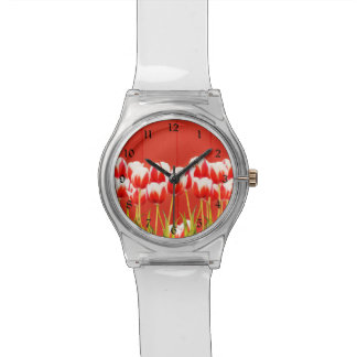 Montre Tulipes rouges et blanches