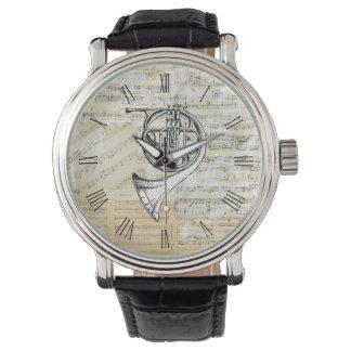 Montre vintage de musique de cor de harmonie montres bracelet