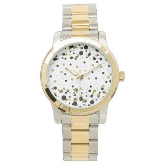 Montres Bracelet À la mode élégant de confettis noirs d'or de pois