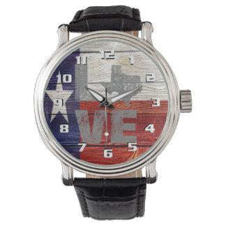 Montres Bracelet Amour patriotique le Texas de drapeau rustique