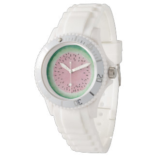 Montres Bracelet Aquarelle peinte à la main rose et verte de
