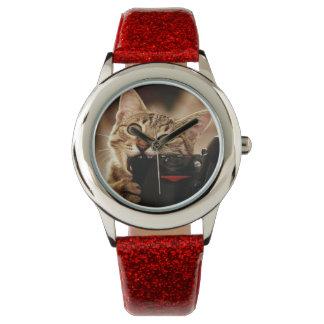 Montres Bracelet Chats drôles - appareil-photo de chat - morsure de