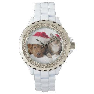 Montres Bracelet Chats et chiens - chat de Noël - chien de Noël