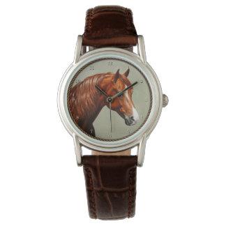 Montres Bracelet Cheval de Morgan de châtaigne