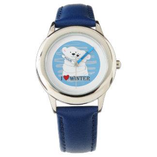 Montres Bracelet Chic bleu d'amour de couples d'ours d'étreinte