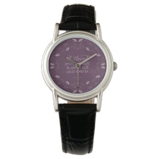 Montres Bracelet Citation florale pourpre d'amour de Jane Austen