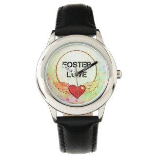 Montres Bracelet Coeur adoptif d'aquarelle d'amour