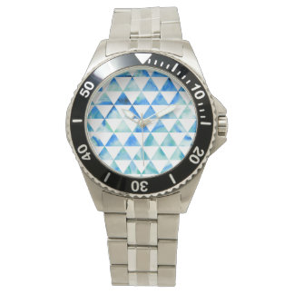 Montres Bracelet Conception bleue de triangle d'aquarelle