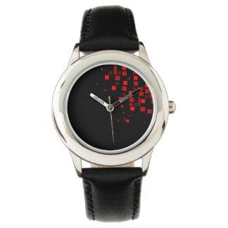 Montres Bracelet Cool audacieux rouge de motif carré géométrique