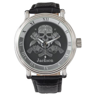 Montres Bracelet Crâne et armes à feu noirs et blancs