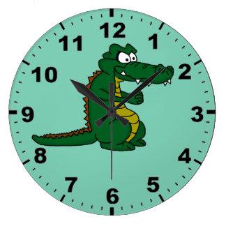 Montres-bracelet de conception de crocodile grande horloge ronde
