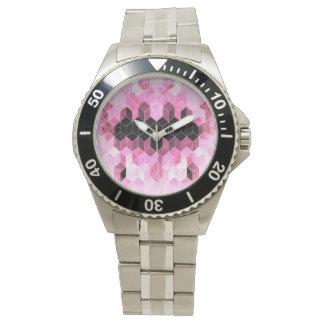 Montres Bracelet Dessin géométrique rose et noir intense