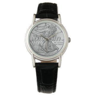 Montres Bracelet Dollar en argent Bitcoin Cryptocurrency HODL drôle