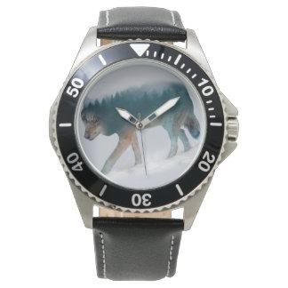 Montres Bracelet Double exposition de loup - forêt de loup - loup