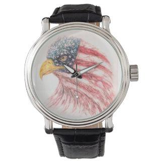Montres Bracelet Drapeau américain chauve d'Eagle