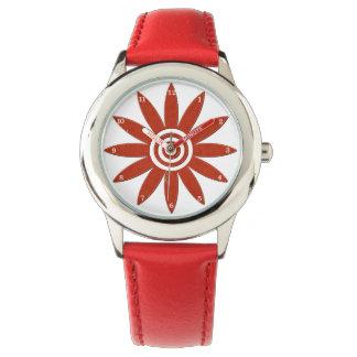 Montres Bracelet Fleur florale fraîche de pétales rouges de fleur