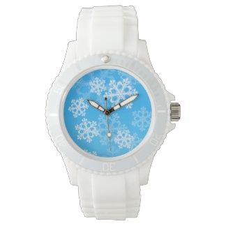 Montres Bracelet Flocons de neige mignons de Noël bleu et blanc