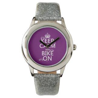 Montres Bracelet Gardez le calme et faites du vélo sur (la couleur
