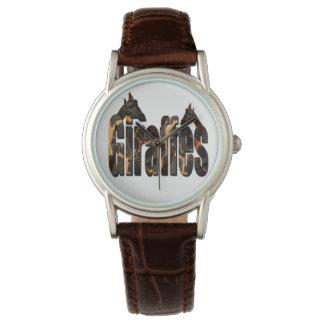 Montres Bracelet Girafes avec le logo de motif de girafe, cuir