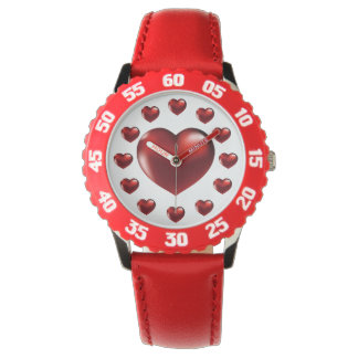 Montres Bracelet Grande montre-bracelet rouge de coeur pour des