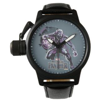 Montres Bracelet Graphic de guerrier de la panthère noire   du Roi