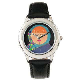 Montres Bracelet Hippie adorable noir coloré de visage de femme