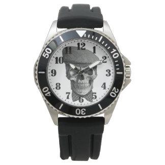 """Montres Bracelet Horloge d'acier masculin «Crâne de chapeau """""""