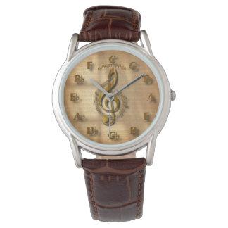Montres Bracelet Horloge de clef triple d'or avec le cercle de la
