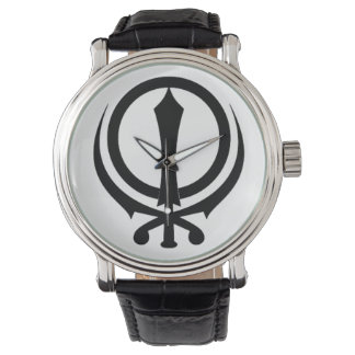 "Montres Bracelet Horloge homme cuir noir Vintage «Adi Shakti """