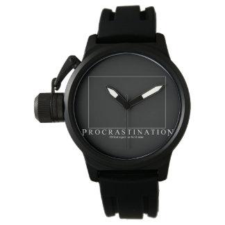 Montres Bracelet Horloge Noire Moderne Procrastination