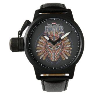 Montres Bracelet Icône tribale noire de masque de la panthère  