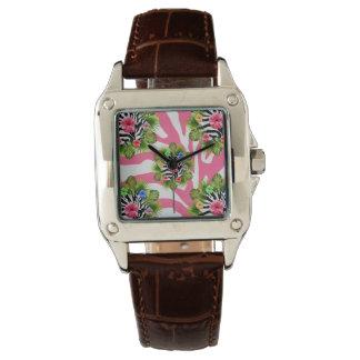 Montres Bracelet Ketmie tropicale et rayures roses exotiques de