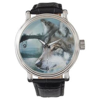 Montres Bracelet loup de pleine lune de clair de lune de forêt de