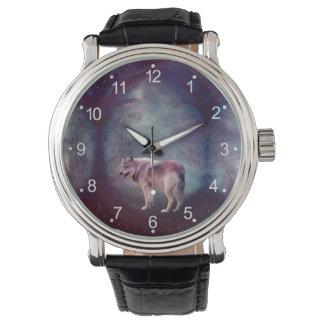 Montres Bracelet Loup gris - loup foncé - loup américain - art de
