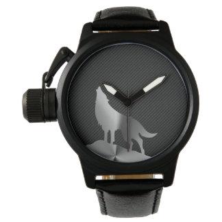 Montres Bracelet Loup métallique d'hurlement avec la fibre de