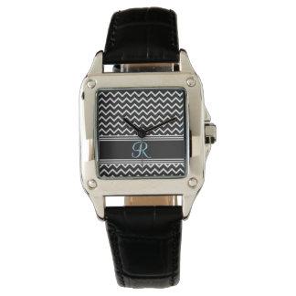 Montres Bracelet Monogramme gothique blanc de zigzag du noir |