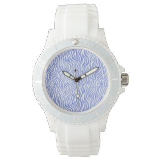 Montres Bracelet Motif bleu de zèbre d'aquarelle