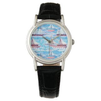 Montres Bracelet Motif de bateaux de navigation d'aquarelle