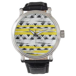 Montres Bracelet Motif tribal de rayures jaunes blanches noires