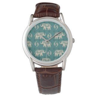 Montres Bracelet Motif turquoise de caravane d'éléphant